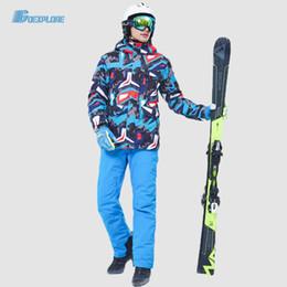 Wholesale gold jumpsuit men resale online - Snowboard Suit Men Winter Outdoor Windproof Waterproof Thermal Male Snow Pants set jumpsuit Skiing Snowboarding Ski set Boys