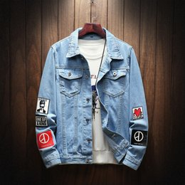Wholesale types lapels for sale – custom 2019 spring new men s Korean style slim fit love printed denim jacket type men s large size casual lapel jacket jgeiG