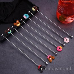 Discount swizzle stick drink stirrers Swizzle Sticks Stainless Steel Coffee Beverage Stirrers Reusable Stirrers Stir Cocktail Drink Swizzle Stick Bar Tools H-