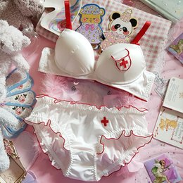 Wholesale girl underwire for sale - Group buy High end custom Anime Japanese Young Girl Push Up Underwire Bra Panties Set Kawaii Cosplay Embroidery Underwire Bra Set
