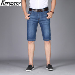Discount dark denim shorts men Summer Knee Length Jeans Mens Shorts Stretch Straight Jeans Men Plus Size Thin Denim Business Casual Stonewashed Shorts