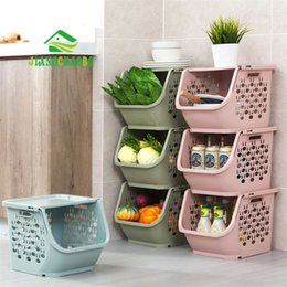plastic bathroom shelves UK - JiangChaoBo 1 Piece Stackable Storage Basket Plastic Toy Storage Baskets Kitchen Snacks Vegetable Basket Bathroom Shelves T200602