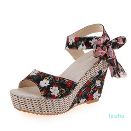 floral print shoes women Australia - Hot sale-Women Sandals Summer Wedge High Heels for Ladies Bohiemia Style Floral Print Female Sandals Beach Height Increasing Shoes