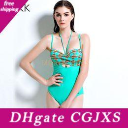 Wholesale big push up swimwear online – Tqskk New Sexy Print Big Women One Piece Swimsuit Strap Monokini Bodysuit Push Up Padded Bra Swimwear Bathing Suit