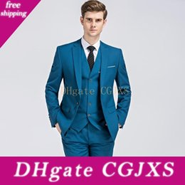 Wholesale suit chinese male resale online - Men Suits Chinese Mandarin Collar Male Suit Slim Fit Blazer Wedding Terno Tuxedo Piece Jacket And Pant c1220