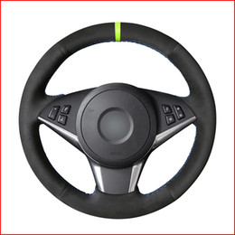 green steering wheels Australia - Black Suede Car Green Marker Steering Wheel Cover for BMW E60 530d 545i 550i E61 Touring 2005-2009 E63 E64 630i 645Ci 650i
