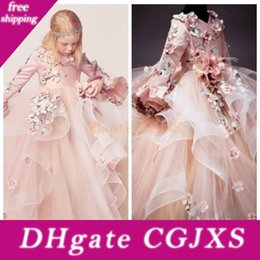 Wholesale gone girl for sale – custom 2018 Beautiful d Floral Appliques V Neck Long Sleeves Girl S Pageant Dresses Lace Up Girl S Birthday Dress Gorgeous Flower Girls Party Go