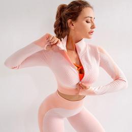 Wholesale crop shirt online – SALSPOR Women Autumn Long Sleeve Seamless Yoga Top Workout Gym Crop Top Running Shirt Sports Zip Sweatshirt Fitness Sportswear