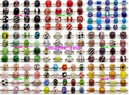 100pcs mixed 925 Sivler core Murano Glass Beads for Jewelry Making Loose Lampwork Charms DIY Beads for Bracelet Wholesale in Bulk Low Price