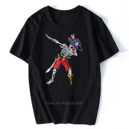 Wholesale pirate t shirt boys online – design Fashion summer Tshirt Cotton Creative Graphic Trends Dabbing Skeleton Pirate T Shirt Halloween Kids Boys Men Gift