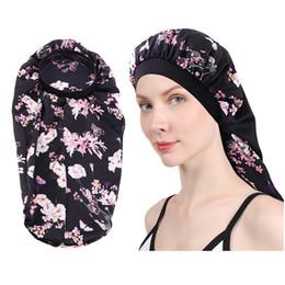 100pcs Extra Long Satin Bonnet Caps for Women Sleep Cap Bonnets Soft Night Sleep Hair Loose Cap with Wide Band on Sale