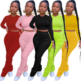 Wholesale two piece sports wear women resale online – Fluorescence Green Women Sport Tracksuit Long Sleeve Skinny Crop Tops Stacked Legging Matching Sets Active Wear Casual Outfits
