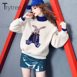 Trytree 2020 Outono Inverno Mulheres Sweater Casual Poliéster Turtleneck Pullovers Grosso Moda Tops solta camisola