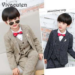 tuxedos for kids Australia - Boys Formal Suits For Weddings Kids Performance Party Blazer Vest Pants 3pcs Tuxedo Clothing Set Child Gentleman Costume F032