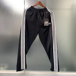 Wholesale black sweat pants resale online – Embrodiery Side Jogger Sweatpants Men and Women Drawstring Straight Baggy Trousers Hip Hop Sweat Pants