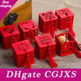 Wholesale vintage novelty printing for sale – custom New Chinese Style Vintage Novelty Red Square Wooden Love Wedding Candy Boxes Gift Party Favors Sugar Supply
