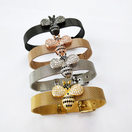 insect jewelry 2021 - 4PCS New Fashion Bee Inspired Jewelry bangle,Bumble Bee Bead watch belt,CZ Micro Pave insect Charm Bead Bracelet BG240 d