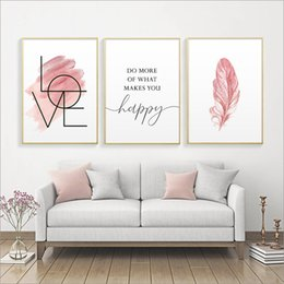 Blush Pink Wall Art Feather Canvas Painting Inspirational Quote Poster and Print Love Sign Picture for Girl Room Decor Home Decor on Sale