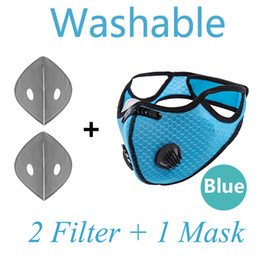 unisex masks NZ - Fast delivery ! 5PCS Unisex Fashion Cycling Face Mask Double Exhalation Valve With PM 2.5 Filter Reusable Mouth Cover Anti-fog Reusable Blue
