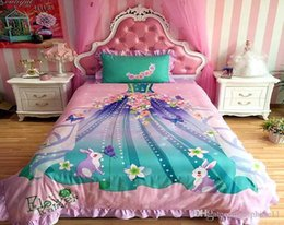 pillowcase american UK - Princess Dress Bedding Sets 3pcs For Kids Girls Princess Mermaid Printed Duvet Cover With Pillowcase Girls