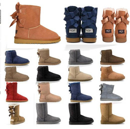 2020 High quality new boots women Australia girl classic chestnut fashion snow boots Bowtie ankle bow short fur boot winter Eur 36-41 8cvD#