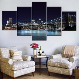 oil painting city bridge Canada - Modern Canvas Pictures Wall Art Frame Home Decor 5 Pieces Brooklyn Bridge Waterfront City Nightscape Paintings HD Prints Posters