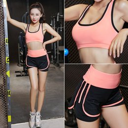 lycra sports bra NZ - New Yoga Sports bra suit women's summer and autumn gym quick-drying clothes running Underwear clothes women's two-piece three-piece set Ve3G