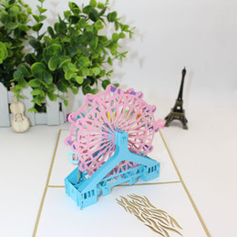 Discount dimensional birthday cards Simple three-dimensional greeting card cute new ferris wheel handmade paper engraving postcard birthday employee holiday