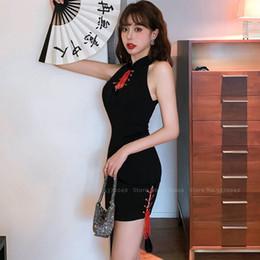 Wholesale korean black cosplay online – oversize Traditional Chinese Hanfu Sleeveless Cheongsam Women Korean Summer Evening Formal Dress Sexy Elegant Retro Qipao Cosplay Costume
