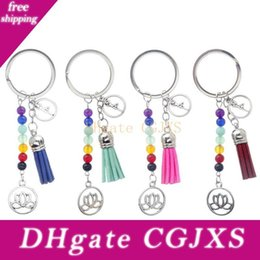 lotus flower gifts UK - Lotus Tassel Key Chains Ring 7 Chakra Reiki Healing Yoga Natural Stone Beads Flower Pendant Keychain Accessories Fashion Gift Charm Keyrings