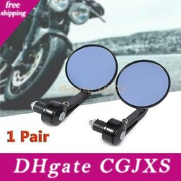 rear view mirror glasses NZ - 7  8 Round Motorbike Rear View Handle Bar End Rearview Side Mirrors Chrome Glass