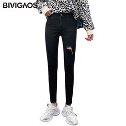 Wholesale ripped jeans woman for sale - Group buy BIVIGAOS Black Ripped Jeans Women Autumn High Waist Slim Skinny Hole Jeans Korean Elastic Ankle Length Pencil Pants Spring