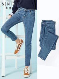 Wholesale raw wash jeans for sale - Group buy Semir Cropped Skinny Raw edge Hem Retro Style Women Ankle Jeans Washed Denim Pants for Woman