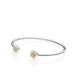 sterling silver open bangle bracelets Canada - 14K Yellow Gold CZ Diamond Disc Open Bangle Bracelet Set Original Box set For Pandora 925 Sterling Silver Cuff Bracelets for Women