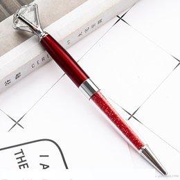 Creative Big Diamond Crystal Ballpoint Pens Metal Fancy Crystal Pen Student Gift School Office Supplies Signature Business Pen 12 Color