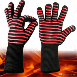 high temperature kitchen gloves NZ - Wholesale Aramid Material Silicone Gloves Resistant High Temperature 500 Degree Insulated Oven Kitchen Silicone Gloves BBQ Fire Glove DH0051