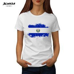 Wholesale el salvador online – design New El Salvador Flag Printing T shirt Women Summer Round Neck Brand T shirts Fashion El Salvador National Flag Female Tee