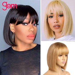 color bob wigs UK - Straight Bob Human Hair Wigs With Bangs Malaysian Remy Human Hair Bob Wig With Bangs No Lace Wigs Ombre 613