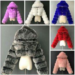 Wholesale fox long coat for sale - Group buy Designer Women Fur Jackets Fashion Short Hooded Imitation Fur Coat Imitation Fox Fur Long Sleeve Stitching Coat Hot Sell New