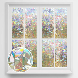 3D Privacy Decorative Glass Sticker Rainbow Effect Sticker Adhesive Vinyl Film on Removable Window Covering Film on Sale