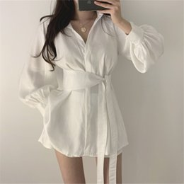 white lace short suit Australia - 2020 early autumn new white long-sleeved shirt + lace-up dress shorts dress waist wide leg shorts casual suit women's two-piece set ddOdO dd