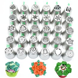 cupcake cakes designs UK - 30pcs set Russian Piping Tips Set Christmas Design Icing Tips Russian Nozzles Bakeware Cupcake Cake Decorating Pastry Baking Tool C0764
