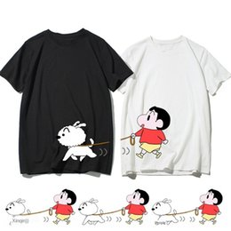 Wholesale t shirts different styles online – design Q9mB7 Different couple wear summer wear roora niche design sense Korean style personalized short sleeved crayon small new joint T shirt T sh