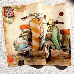material cotton Canada - 28*28cm 2PCS Retro motorcycle diy cotton fabric cloth dolls for sewing bag crafts printed material patchwork dyeing fabric SL149