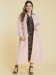 Wholesale drop waist coat for sale - Group buy Siskakia Midi Cardigan Trench Coat Plus Size Solid Pink Lapel Drop Shoulder Long Sleeve Waist Drawstring Tie Windbreaker Autumn