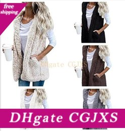 winter warm hoodie zip up UK - 50pcs Warm Women Hooded Vest Winter Jacket Hoodie Outwear Faux Fur Zip Up Sherpa Casual Coat M287