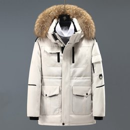 Wholesale red coat back resale online – Men Down Jacket Coat Hooded Standing Stretch Collar Short Front Long Back Thick Warm Male Designer Winter Coats White Duck Parka Overcoat