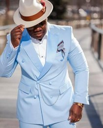 Abiti bello Doppio Petto Uomo Work Business Suit Baby Blue smoking dello sposo del partito di promenade Blazers (Jacket + Pants + Tie) W: 1119