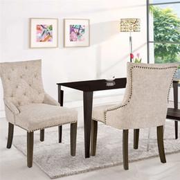 Großhandel US-Aktien 3-5 Tage Liefer Dining Stuhl mit Armlehne, Nailhead Trim Leinen Polster 2er-Set (beige) WF010762AAA