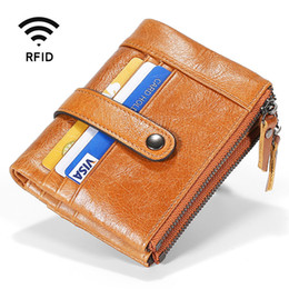 mens vintage leather clutch bag NZ - 2020 Mens Leather Men RFID Wallets Purse Short Male Clutch Real Leather Business Card Holder Wallet Money Bag Quality Guarantee
